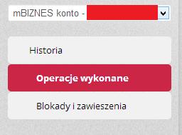 Pokazuje możliwość wyboru blokad dla konta firmowego w PLN