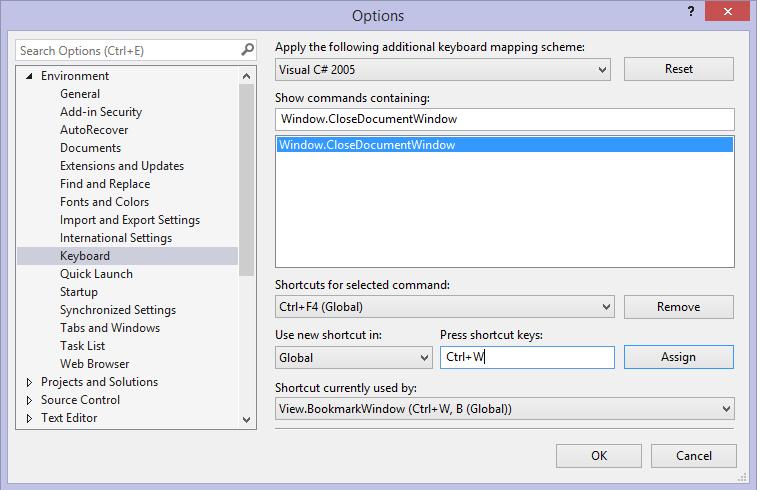 Visual Studio Keyboard Options: CTRL+W