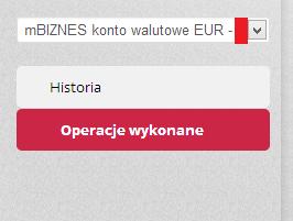 Pokazuje brak możliwości wyboru blokad dla konta firmowego w EURO gdyż takiej opcji nie ma