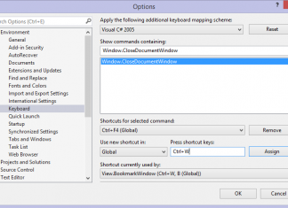 Visual Studio Keyboard Options: CTRL+W