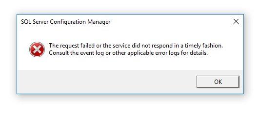 Mało mówiący błąd podczas startu SQL Server