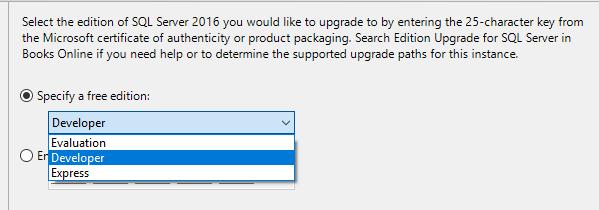 Dostępne opcje aktualizacji SQL Server