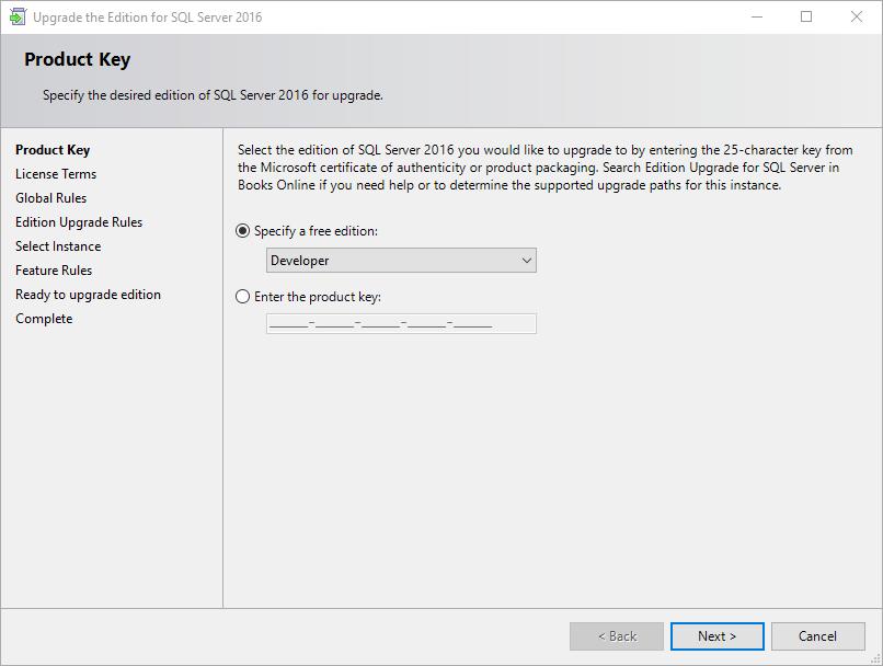 Okno aktualizacji edycji SQL Server