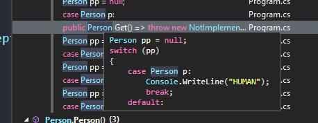 Podgląd kodu w oknie znajdź wszystkie referencje