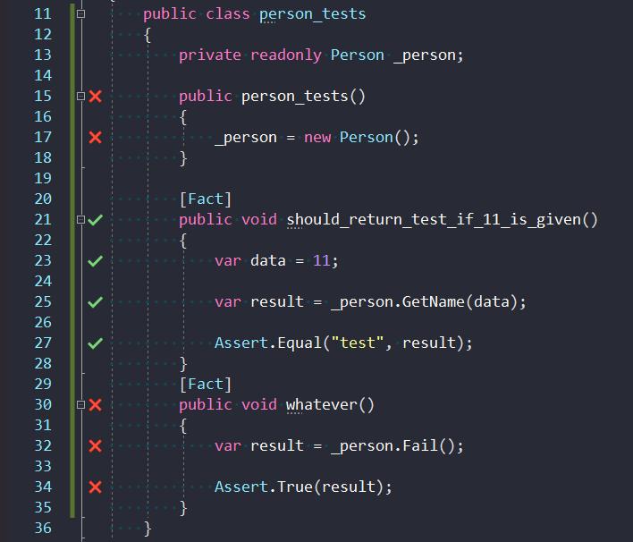 Wygląd kodu testującego