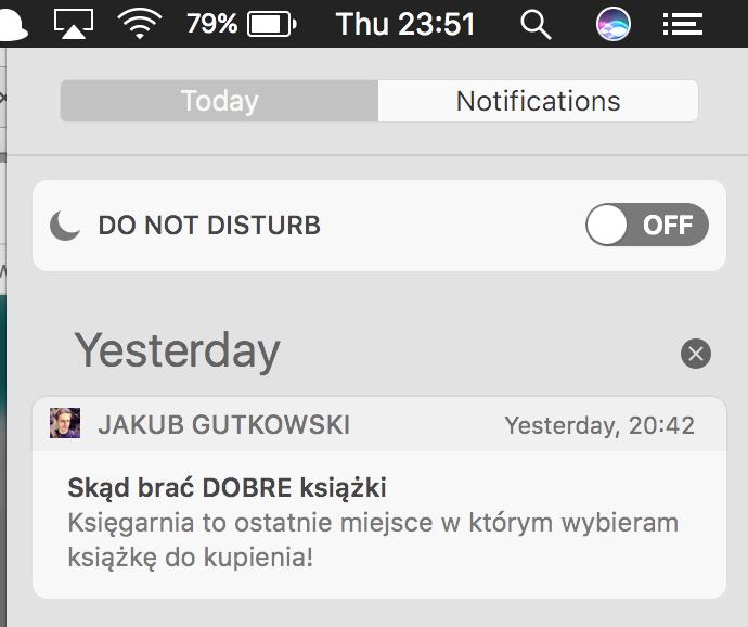 Notyfikacje macOS