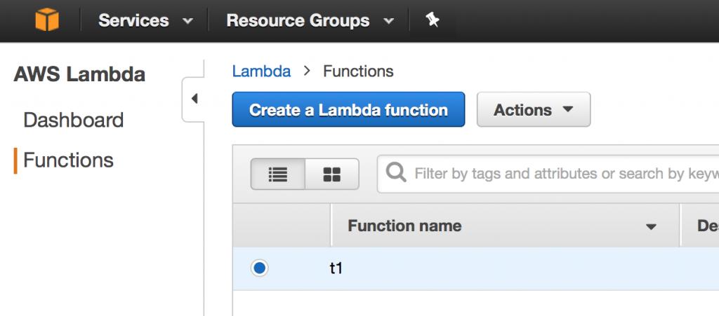 AWS Lambda - Lista funkcji