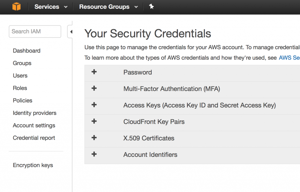 AWS - Security credentials