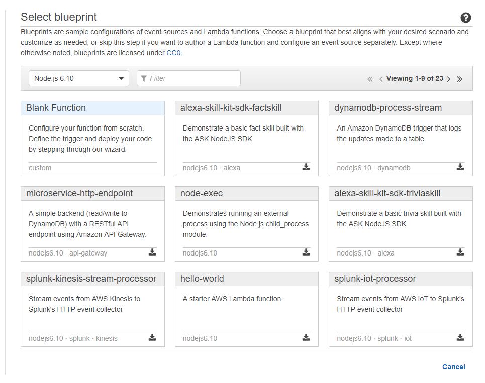 AWS Lambda - Wybór szablonu