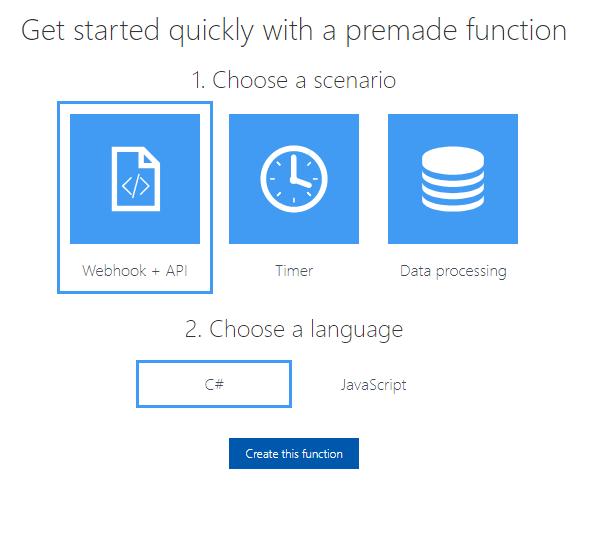 Azure Functions - Wybór testowych funkcji