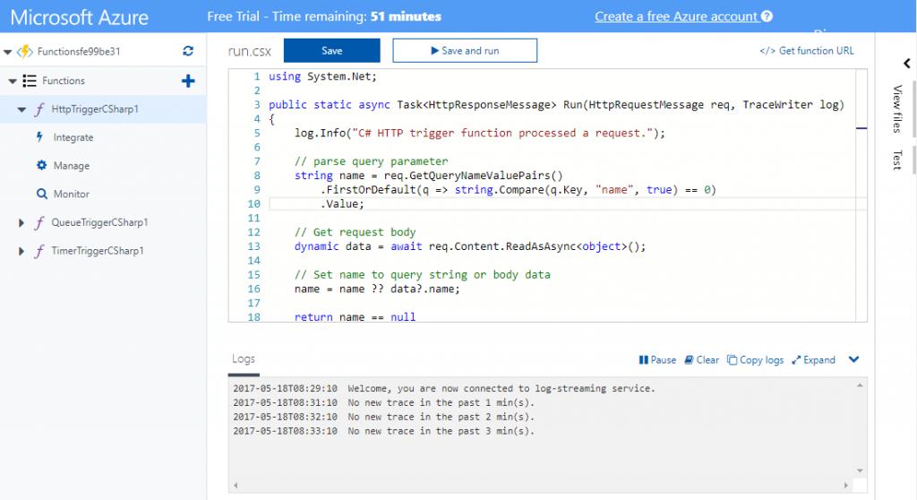 Azure Functions - Edytor Monaco jako edytor funkcji