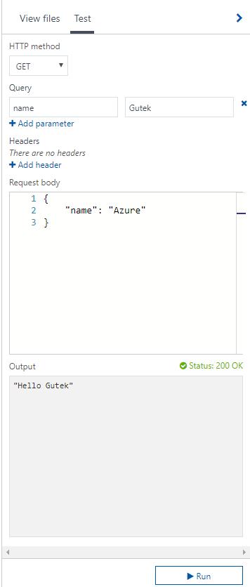 Azure Functions - Okno testowania funkcji