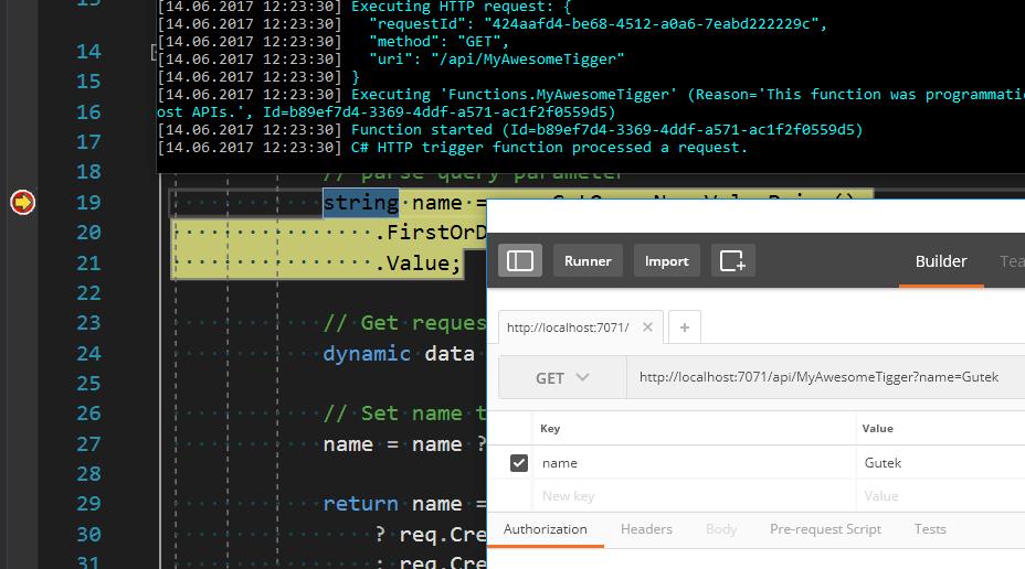 Lokalna instancja Azure Function w debuggowaniu