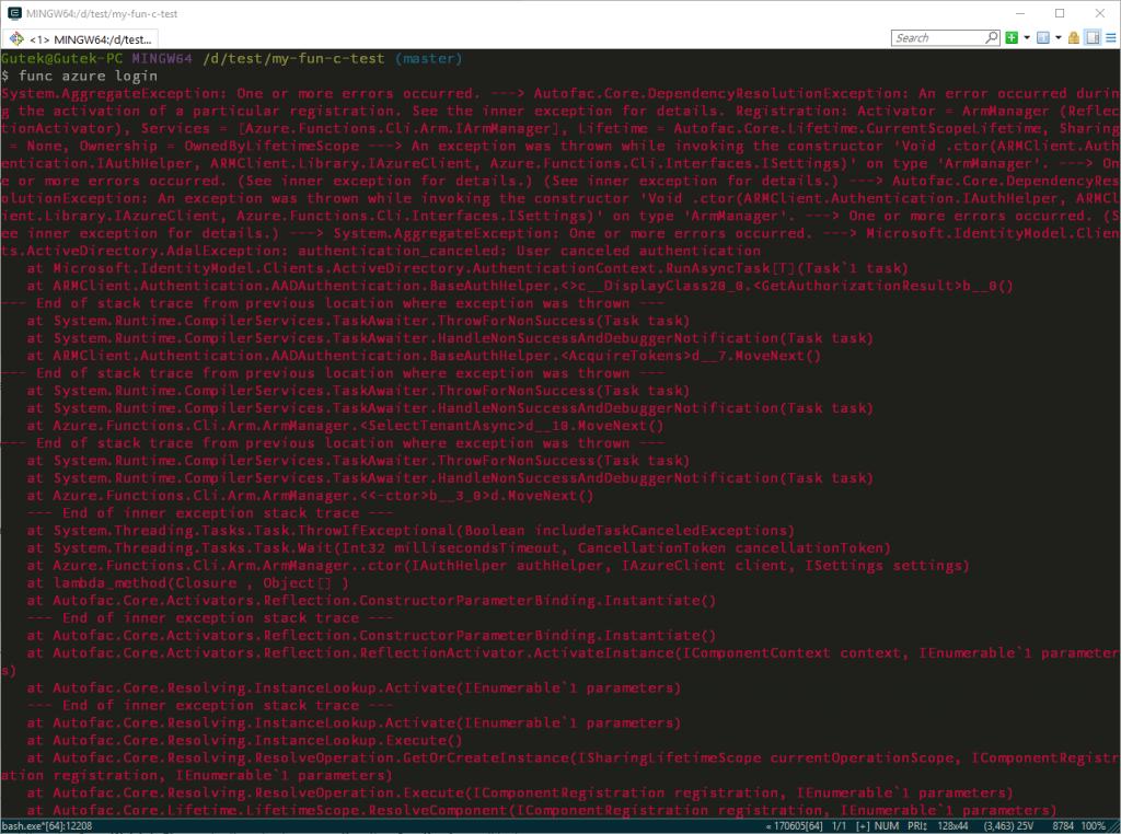 Azure functions CLI - bo kochamy stack trace :)