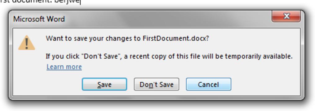 Co zrobić z dokumentem w trakcie zamykania Word