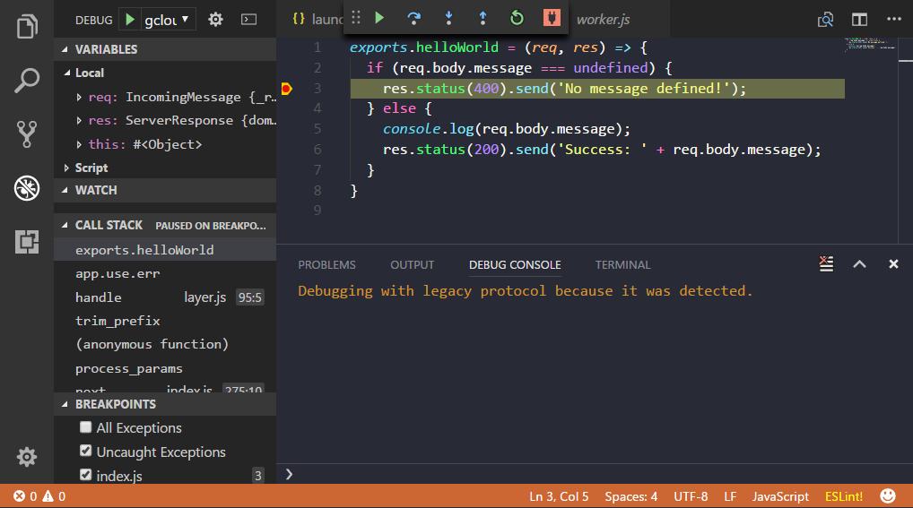Cloud Function VS Code debugger