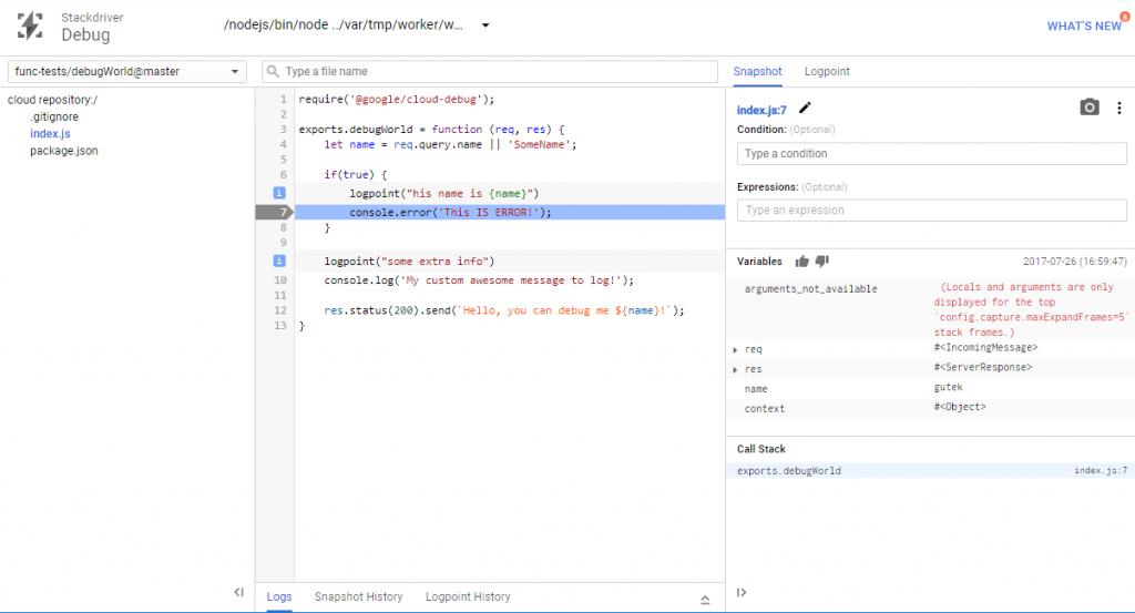 Okno z załadowany kodem snapshot i logpoint'ami