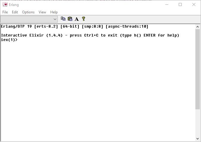Okno hostowania iex w emulatorze erlanga