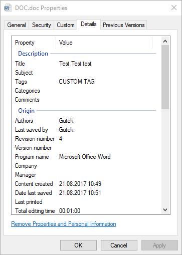 DOCX własności pliku w Windows Explorer
